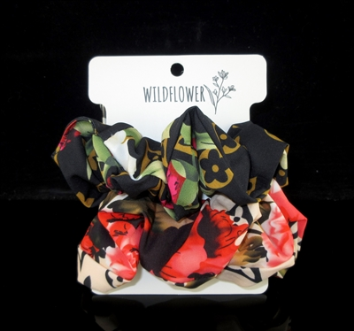 FH4181 MULTI FLOWER MIX COLOR HAIR SCRUNCHY 2 PIECE SET