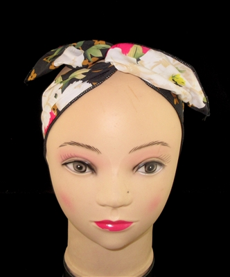 FH4213BK BLACK MULTI FLOWERS WIRED HEADBAND