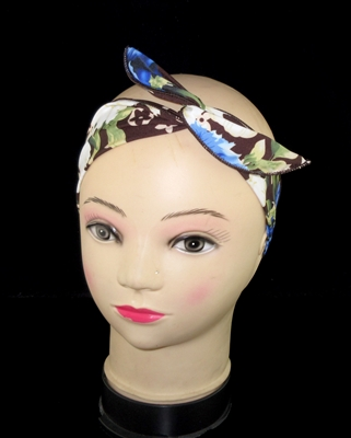 FH4213BR BROWN MULTI FLOWERS WIRED HEADBAND