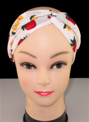 FH986 STRAWBERRY/FLOWER PRINT WHITE HEADBAND