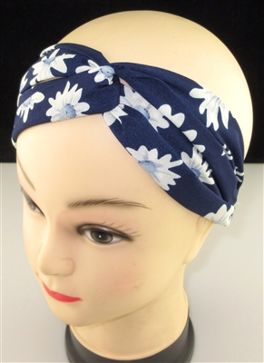 FH988 NAVY BLUE WHITE DAISY FLOWER PRINT HEADBAND