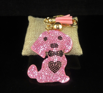 FKR190 RHINESTONE PUPPY/HEART KEY CHAIN