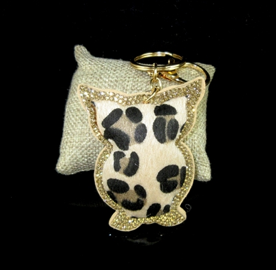 FKR205 ANIMAL PRINT OWL KEY CHAIN