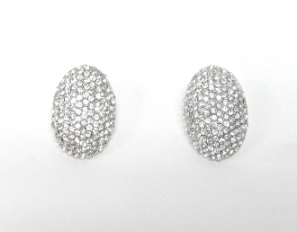 GE-30331 RHINESTONE OVAL EARRINGS