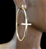 HE1353 CROSS HOOP EARRINGS