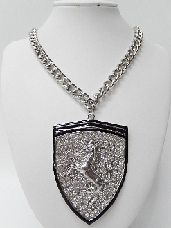 HN1230 UNICORN/RHINESTONE CHAIN NECKLACE