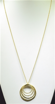HN4237 HAMMERED OPEN CIRLCE NECKLACE