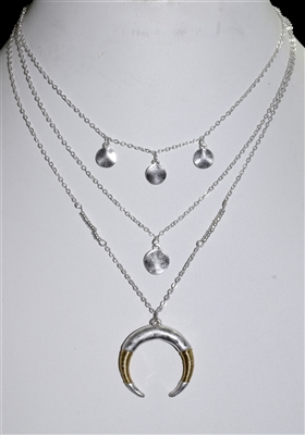 HN4259 CHAIN CRESCENT NECKLACE