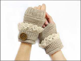 IA0005 Knit Open Finger&Stud Lace GLOVES