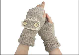IA0008 Knit Open Finger&Stud GLOVES