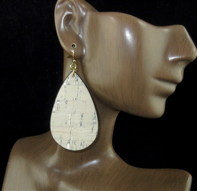 JCE1417 WATERCOLORED LEATHER/CORK TEARDROP ER