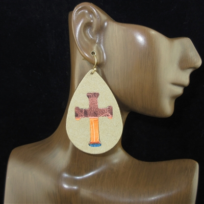 JCE2274 LEATHER CROSS TEARDROP EARRINGS