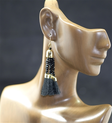 JCE326 BEADED SMALL TASSEL EARRINGS