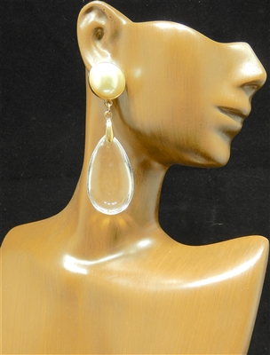JCE500 CLEAR TEARDROP PEARL EARRINGS