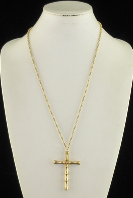 JN0546 ANTIQUE HAMMERED LONG CROSS NK