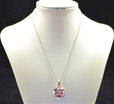 M03444NLRO Never Give Up Pink Ribbon Necklace