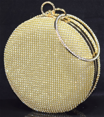ME0012 RHINESTONE ROUND EVENING BAG