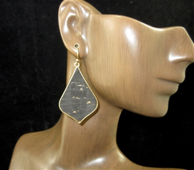 ME540 GOLD ANTIQUE ABSTRACT CORK EARRINGS