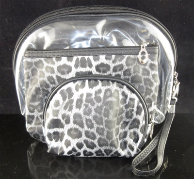 MP0075-1 CLEAR & LEOPARD PRINT MAKE UP BAG SET OF 3