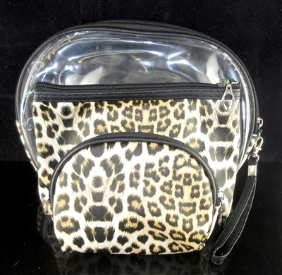 MP0075 CLEAR & LEOPARD PRINT MAKE UP BAG SET OF 3
