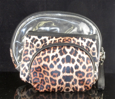 MP0075-2 CLEAR & LEOPARD PRINT MAKE UP BAG SET OF 3