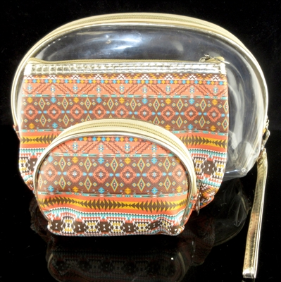 MP0077 CLEAR & BROWN PATTERN MAKE UP BAG SET OF 3