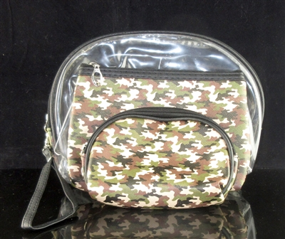 MP0105 CLEAR & CAMOUFLAGE PATTERN MAKE UP BAG SET OF 3