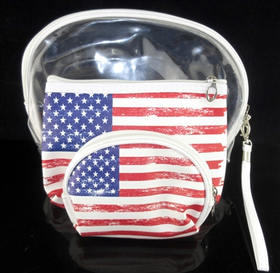 MP0106 CLEAR & U.S.A FLAG MAKE UP BAG SET OF 3