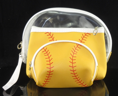MP0108 CLEAR & SOFTBALLL MAKE UP BAG SET OF 3