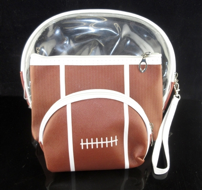 MP0109 CLEAR & FOOTBALL MAKE UP BAG SET OF 3