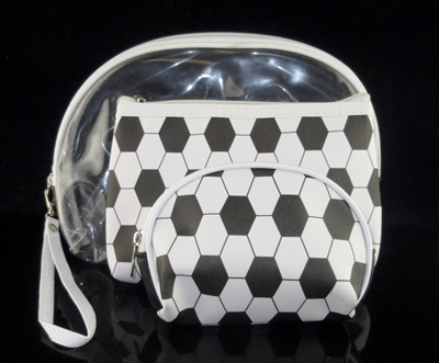 MP0110 CLEAR & SOCCER MAKE UP BAG SET OF 3