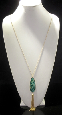 N1096OG ANTIQUE TEARDROP GREEN GEM TASSEL LONG NK
