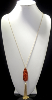 N1101OG ANTIQUE TEARDROP ORANGE GEM TASSEL LONG NK