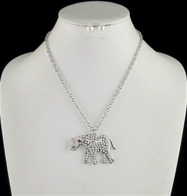 N1321RH45 SILVER PEARL ELEPHANT NECKLACE SET