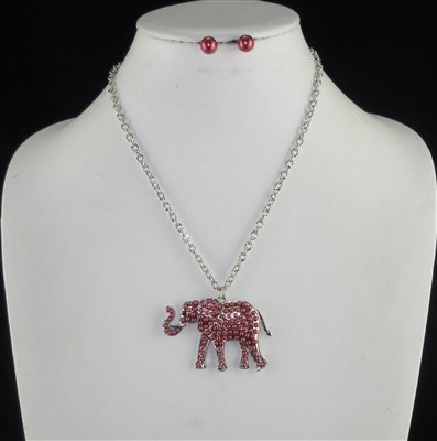 N1321RH46 SILVER PEARL ELEPHANT NECKLACE SET