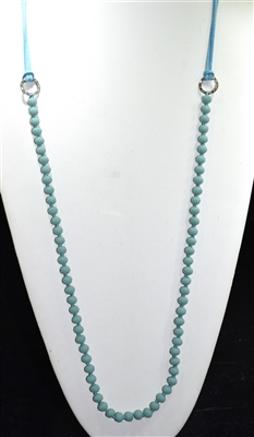NK3010 SUEDE CRYSTAL BEADED NECKLACE