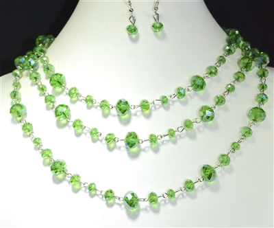 NK800 CRYSTAL BEADED GREEN NECKLACE SET