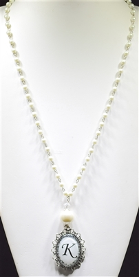 """ K "" PEARL MONOGRAM NECKLACE"