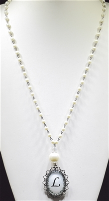 """ L "" PEARL MONOGRAM NECKLACE"