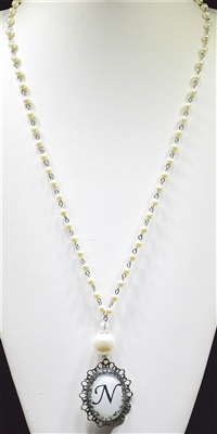 """ N "" PEARL MONOGRAM NECKLACE"