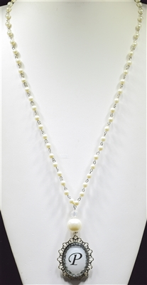 """ P "" PEARL MONOGRAM NECKLACE"