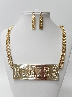 NKF07666 HOMIES CHAIN NECKLACE SET