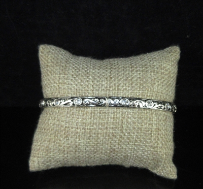 OB03061 ANTIQUE RHINESTONE SILVER STRETCH BRACELET