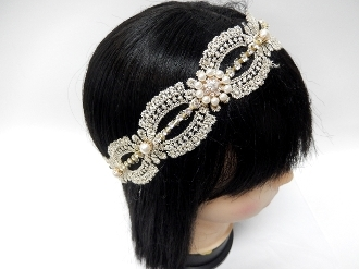 OH0281 PEARL/LACE STRETCH HEADBAND