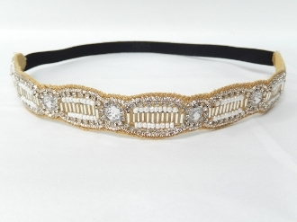 OH0425 BEADED/CRYSTAL STRETCH HEADBAND