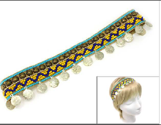 OH0438 BEADED/COIN  STRETCH HEADBAND