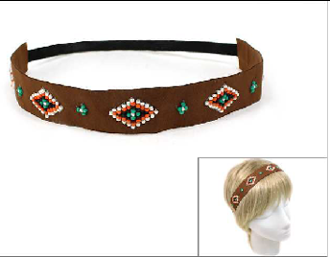 OH0455 BEADED/SUEDE  STRETCH HEADBAND