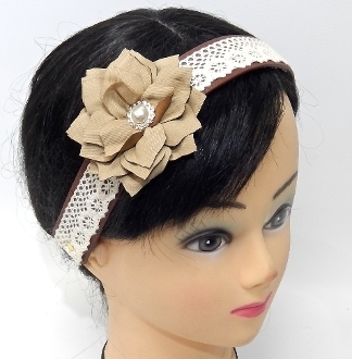OH0478 FLOWER/LACE STRETCH HEADBAND