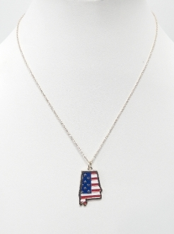 ON1023 AMERICAN FLAG AL NECKLACE