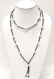 "PB7387 PEARL 42"" LEATHER/SUEDE LONG NECKLACE"